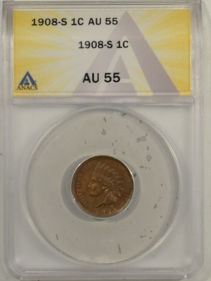 Indian 1908-S INDIAN CENT – ANACS AU-55