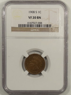 New Certified Coins 1908-S INDIAN CENT – NGC VF-20 BN