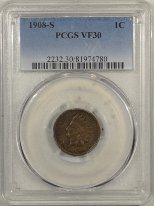 Indian 1908-S INDIAN CENT – PCGS VF-30