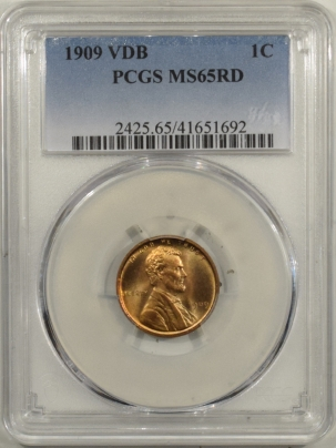 New Certified Coins 1909 VDB LINCOLN CENT – PCGS MS-65 RD
