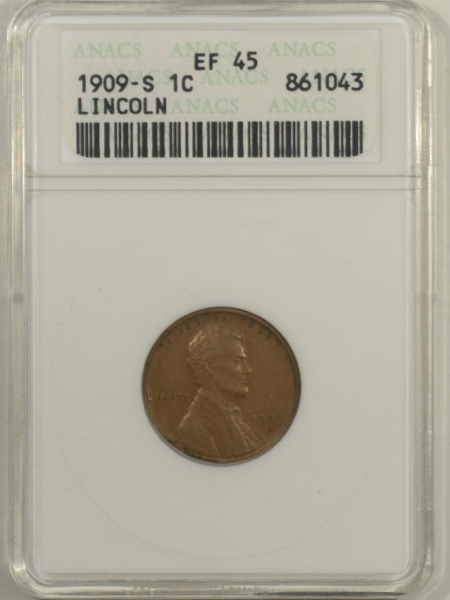 Lincoln Cents (Wheat) 1909-S LINCOLN CENT – ANACS XF-45, WHITE HOLDER!