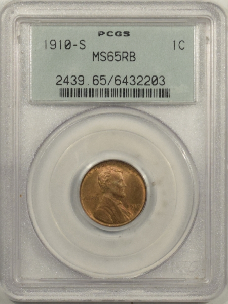 Lincoln Cents (Wheat) 1910-S LINCOLN CENT – PCGS MS-65 RB, OGH! PREMIUM QUALITY!