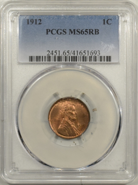 New Certified Coins 1912 LINCOLN CENT – PCGS MS-65 RB, MOSTLY RED!