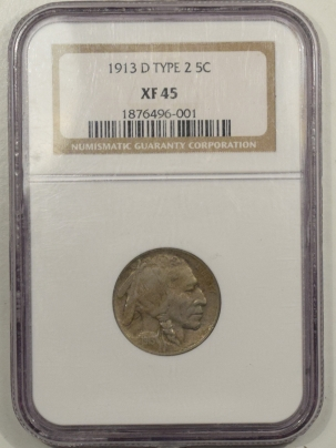 Buffalo Nickels 1913-D BUFFALO NICKEL TY II – NGC XF-45