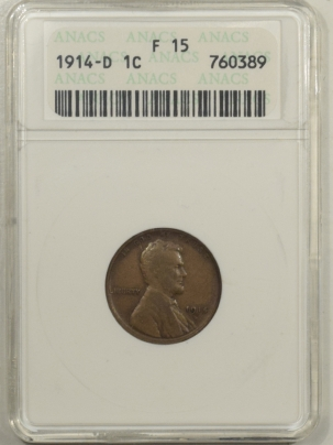 Lincoln Cents (Wheat) 1914-D LINCOLN CENT – ANACS F-15, PLEASING!