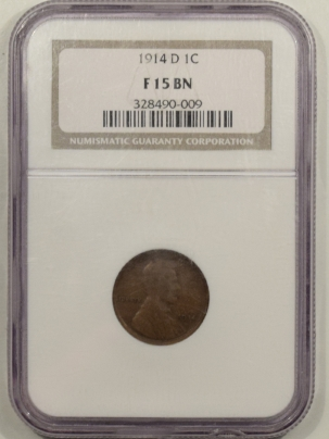 Lincoln Cents (Wheat) 1914-D LINCOLN CENT – NGC F-15 BN