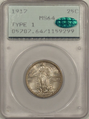 CAC Approved Coins 1917 TY I STANDING LIBERTY QUARTER, PCGS MS-64, RATTLER & CAC; LOOKS MS-66 & PQ!