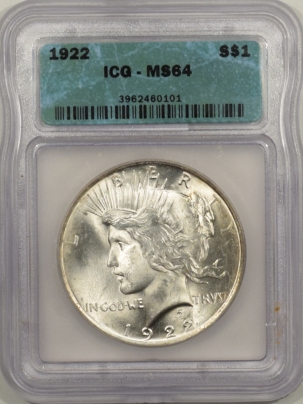 New Certified Coins 1922 PEACE DOLLAR – ICG MS-64