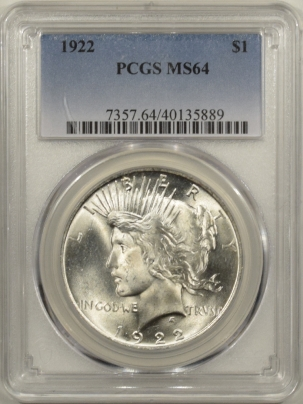 New Certified Coins 1922 PEACE DOLLAR – PCGS MS-64 BLAST WHITE!