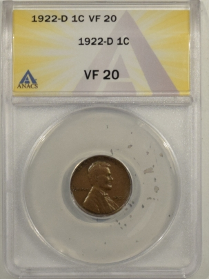 Lincoln Cents (Wheat) 1922-D LINCOLN CENT – ANACS VF-20