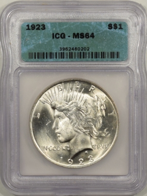 New Certified Coins 1923 PEACE DOLLAR – ICG MS-64