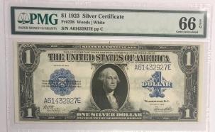 U.S. Currency 1923 $1 SILVER CERTIFICATE, FR-238, PMG GEM UNCIRCULATED 66 EPQ; A SUPERB NOTE!