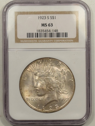 New Certified Coins 1923-S PEACE DOLLAR – NGC MS-63