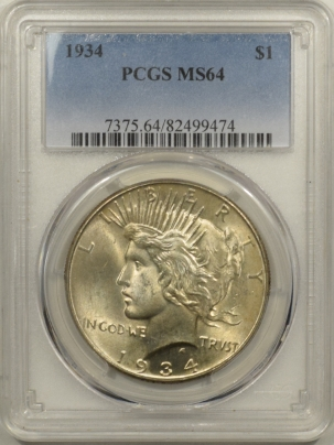 New Certified Coins 1934 PEACE DOLLAR – PCGS MS-64
