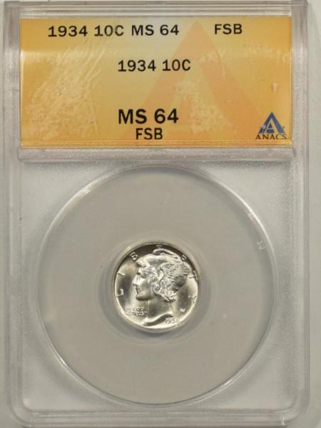 New Certified Coins 1934 MERCURY DIME – ANACS MS-64 FSB BLAST WHITE!