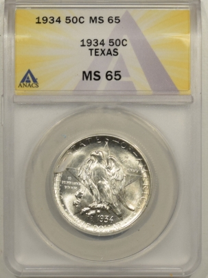 New Certified Coins 1934 TEXAS COMMEMORATIVE HALF DOLLAR – ANACS MS-65 BLAST WHITE!