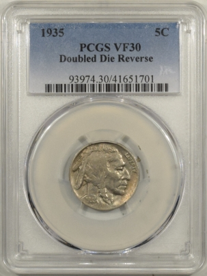 Buffalo Nickels 1935 BUFFALO NICKEL, DOUBLED DIE REVERSE – PCGS VF-30