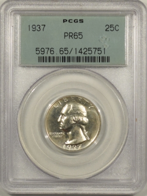 New Certified Coins 1937 PROOF WASHINGTON QUARTER – PCGS PR-65 OLD GREEN HOLDER & PREMIUM QUALITY!