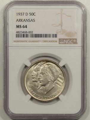 New Certified Coins 1937-D ARKANSAS COMMEMORATIVE HALF DOLLAR – NGC MS-64