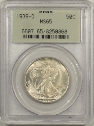 New Certified Coins 1939-D WALKING LIBERTY HALF DOLLAR – PCGS MS-65, OGH! FRESH & PREMIUM QULAITY!