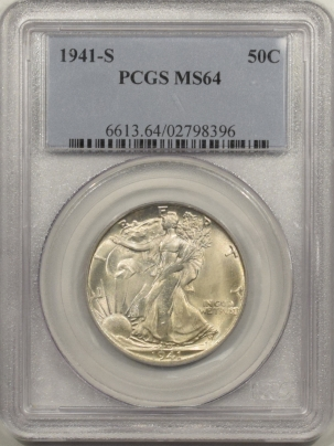 New Certified Coins 1941-S WALKING LIBERTY HALF DOLLAR – PCGS MS-64 FRESH!