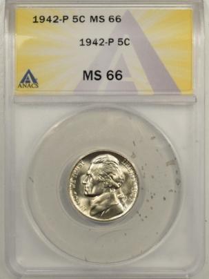 Jefferson Nickels 1942 JEFFERSON NICKEL – ANACS MS-66