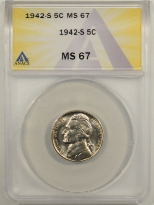 Jefferson Nickels 1942-S JEFFERSON NICKEL – ANACS MS-67