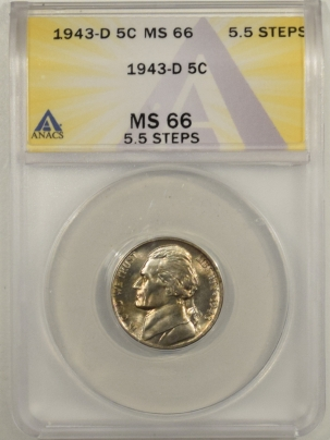 Jefferson Nickels 1943-D JEFFERSON NICKEL, 5.5 STEPS – ANACS MS-66