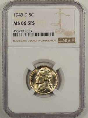 Jefferson Nickels 1943-D JEFFERSON NICKEL – NGC MS-66 5FS
