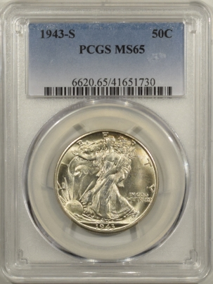 New Certified Coins 1943-S WALKING LIBERTY HALF DOLLAR – PCGS MS-65 FRESH & FLASHY!