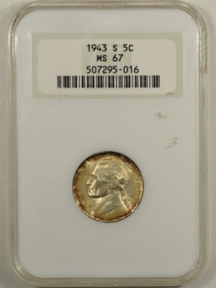 Jefferson Nickels 1943-S JEFFERSON NICKEL – NGC MS-67, PQ! NEARLY FS! PRETTY!