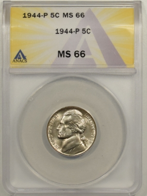 Jefferson Nickels 1944-P JEFFERSON NICKEL – ANACS MS-66