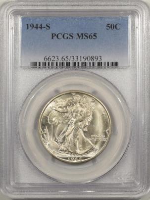 New Certified Coins 1944-S WALKING LIBERTY HALF DOLLAR – PCGS MS-65, FLASHY ORIGINAL WHITE GEM