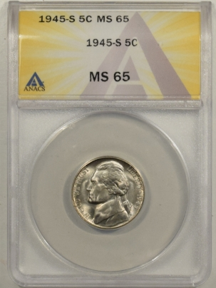 Jefferson Nickels 1945-S JEFFERSON NICKEL – ANACS MS-65