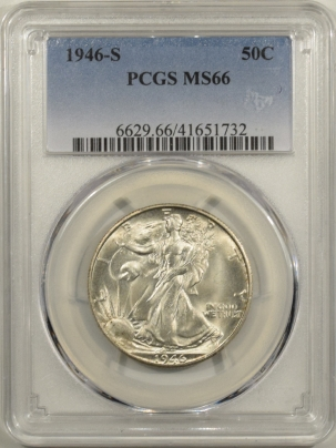 New Certified Coins 1946-S WALKING LIBERTY HALF DOLLAR – PCGS MS-66 WHITE & FRESH!