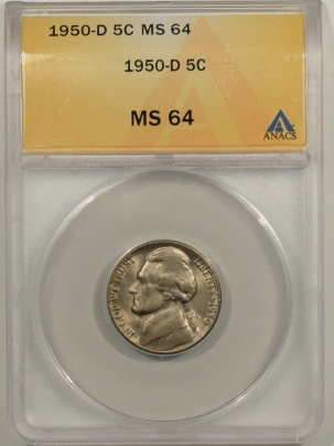 Jefferson Nickels 1950-D JEFFERSON NICKEL – ANACS MS-64