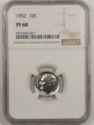 New Certified Coins 1952 PROOF ROOSEVELT DIME – NGC PF-68