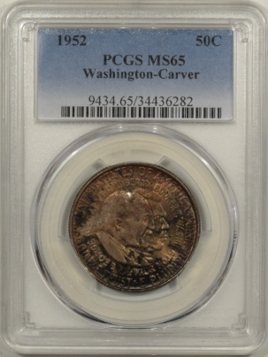 New Certified Coins 1952 WASHINGTON-CARVER COMMEMORATIVE HALF DOLLAR – PCGS MS-65 PRETTY & ORIGINAL!