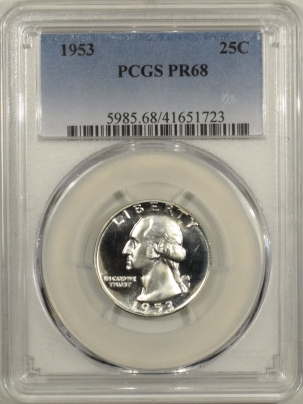 New Certified Coins 1953 PROOF WASHINGTON QUARTER – PCGS PR-68 NEARLY CAMEO!