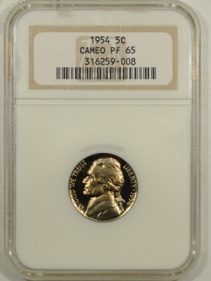 Jefferson Nickels 1954 PROOF JEFFERSON NICKEL – NGC PF-65 CAMEO