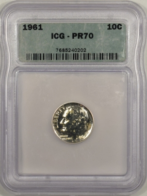 New Certified Coins 1961 PROOF ROOSEVELT DIME – ICG PR-70