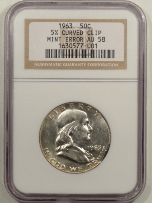 Franklin Halves 1963 FRANKLIN HALF DOLLAR – 5% CURVED CLIP MINT ERROR – NGC AU-58