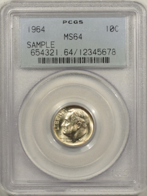New Certified Coins 1964 ROOSEVELT DIME – PCGS MS-64 OGH SAMPLE SLAB!