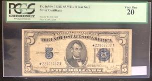 U.S. Currency 1934 D $5 SILVER CERTIFICATE, FR-1654*, WIDE II STAR NOTE, PCGS VF 20, SCARCE*!