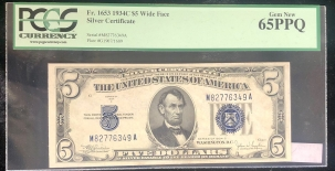 U.S. Currency 1934 C $5 SILVER CERTIFICATE, FR-1653, WIDE FACE, PCGS GEM NEW 65PPQ