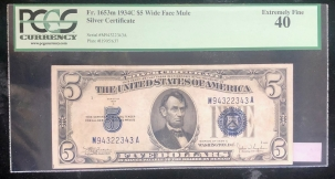 U.S. Currency 1934 C $5 SILVER CERTIFICATE, FR-1653M, WIDE FACE MULE, PCGS EXTREMELY FINE 40