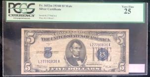 U.S. Currency 1934 B $5 SILVER CERTIFICATE, FR-1652M, MULE, PCGS VERY FINE 25