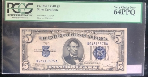 U.S. Currency 1934 B $5 SILVER CERTIFICATE, FR-1652, K-A BLOCK, PCGS VERY CHOICE NEW 64PPQ