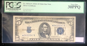 U.S. Currency 1934 A $5 SILVER CERTIFICATE, FR-1651M*, MULE STAR NOTE, PCGS VERY FINE 30PPQ