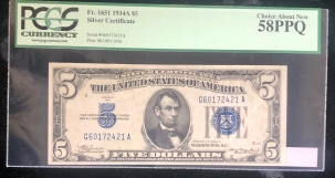 U.S. Currency 1934 A $5 SILVER CERTIFICATE, FR-1651, PCGS CHOICE ABOUT NEW 58PPQ